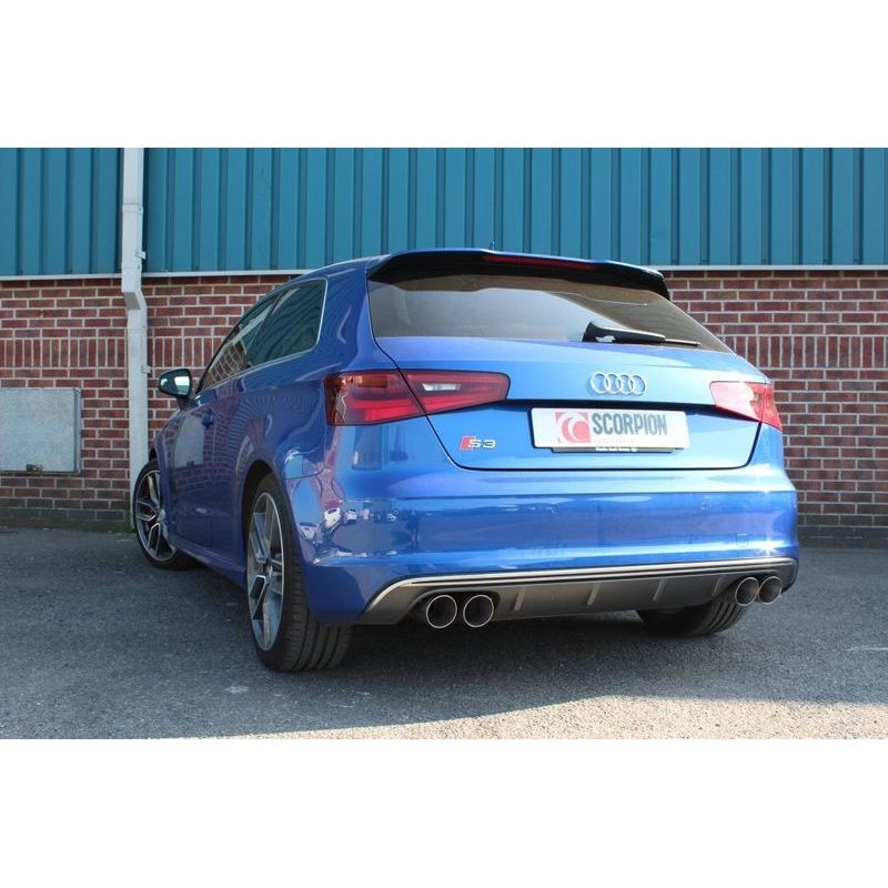 audi s3 2 0t 8v 3 door sportback 3 cat back resonated exhaust daytona tails. Black Bedroom Furniture Sets. Home Design Ideas